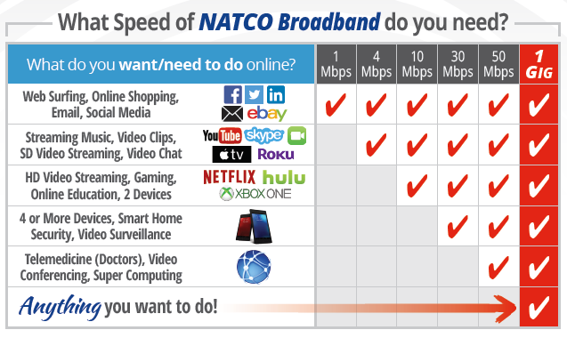What Speed of NATCO Broadband do you need?