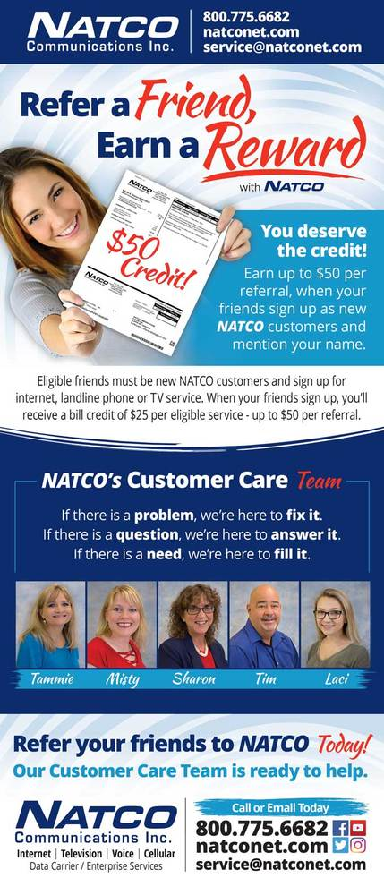 Refer a friend credit information for NATCO Communications